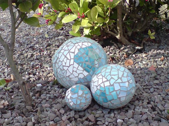 Sustainable garden: A mosaic ball is fun to create and reduces landfill