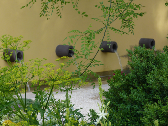 Water spouts in Cleve West's garden