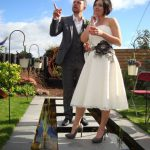 Jill and I on our wedding day, in our garden of course!