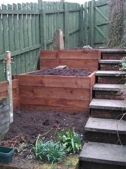 Solution:raised beds create terracing ready for planting