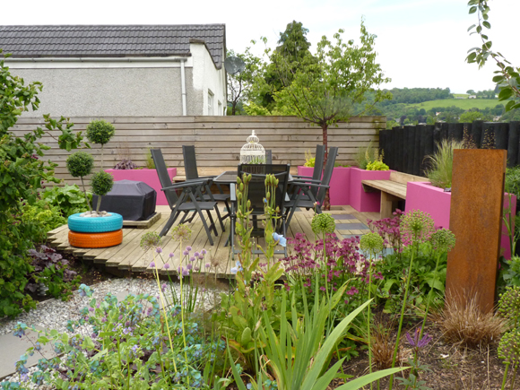A new deck which we designed and built, part of the garden design process