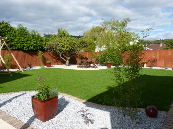 A relaxing, family garden we designed and built in Bridge of Allan. One of the benefits of using a garden designer