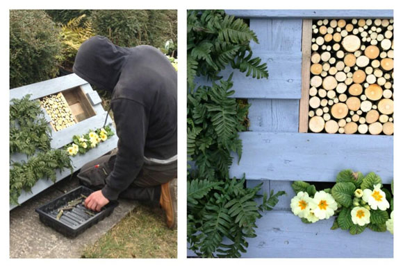 A pallet incorporating a bug hotel at RHS Cardiff Show