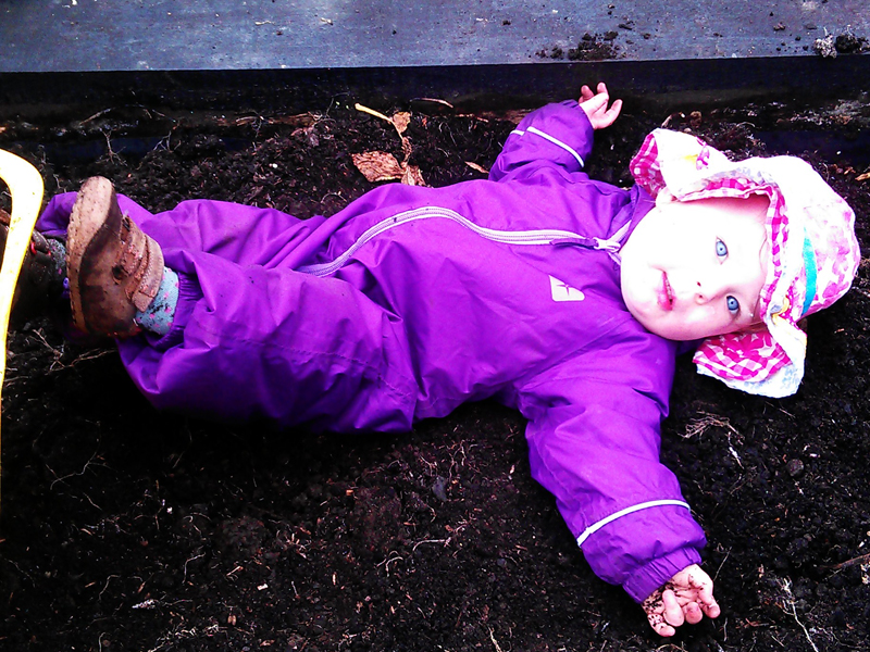 Have a roll in the veg beds to get warmed up!