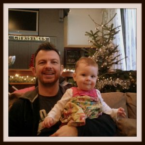 Daddy and I with a real Christmas tree