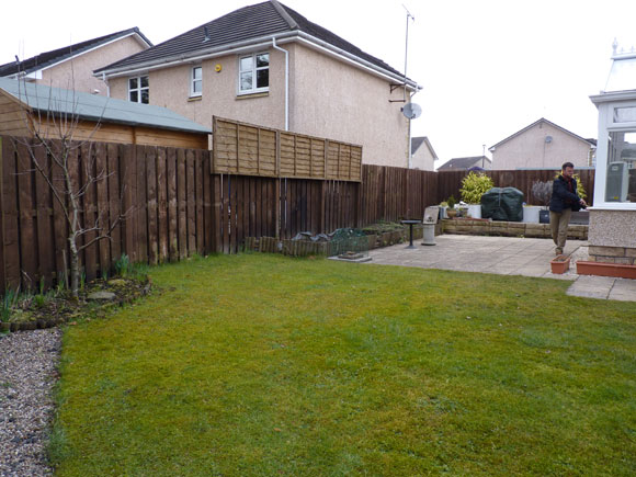 Before: a waterlogged garden with no focal points