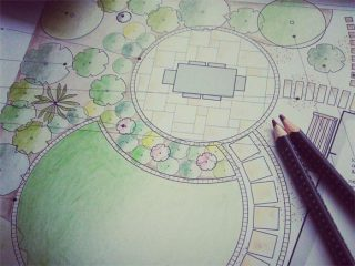 Our garden designs are drawn up in CAD then hand coloured