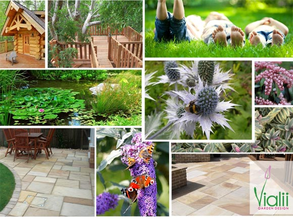 A moodboard shows the inspiration for the design, materials, features and planting proposed