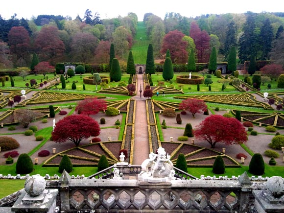 The stunning formal gardens at Drummond