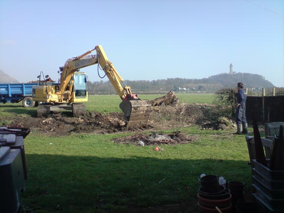 The diggers arrived to clear the garden
