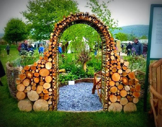 A stunning archway made from logs