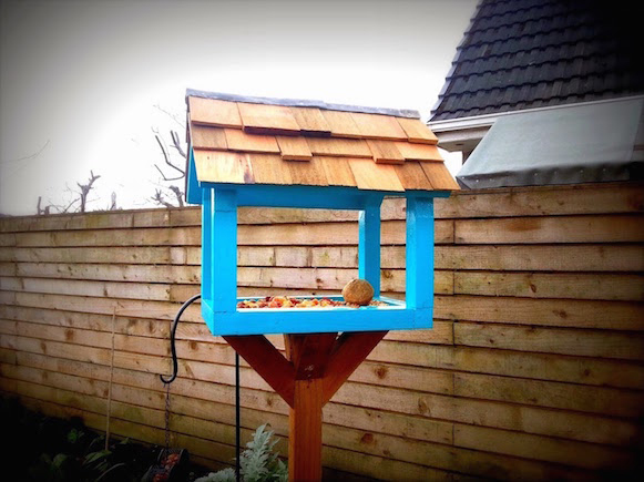 Our bird table was made from left over wood