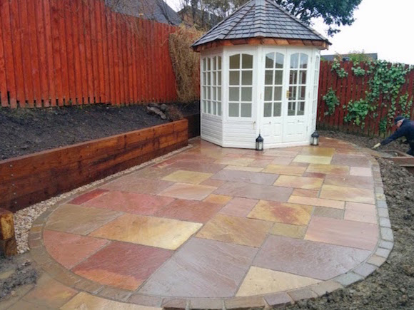 The completed patio and summerhouse