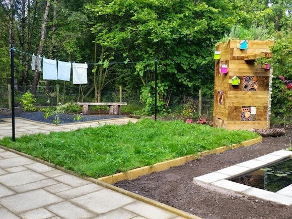 The new Jupiter Urban Wildlife Centre which Vialii designed features funky bug hotels as well as a pond and living walls