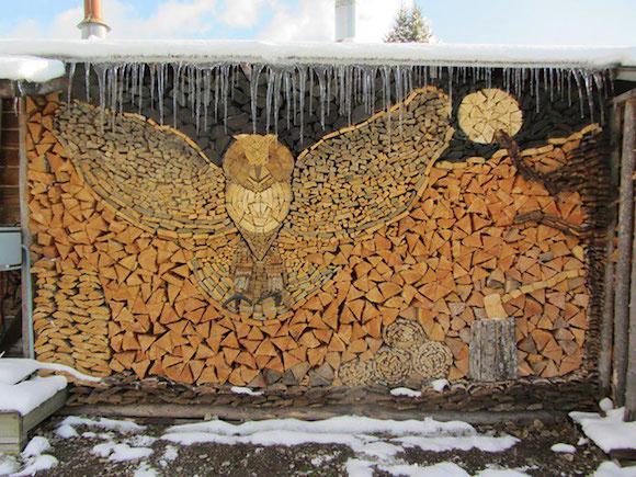 Amazing owl log pile art