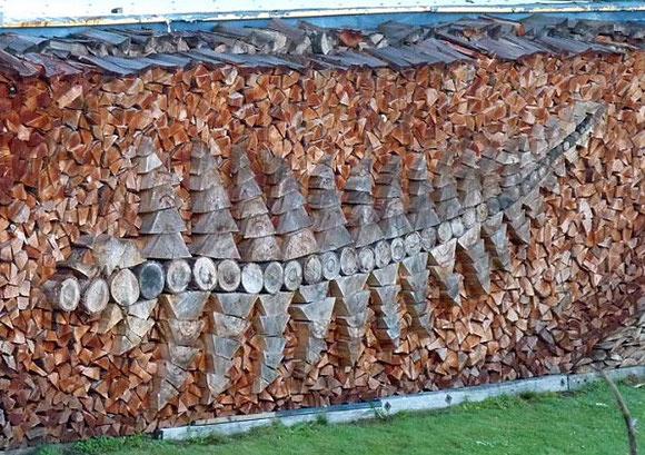 Wonderful leaf log pile art