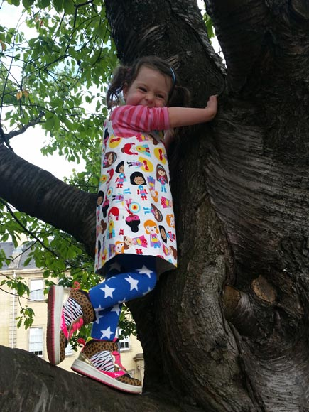 I can even climb trees in my pretty  Granny Biscuits dresses made from plants!