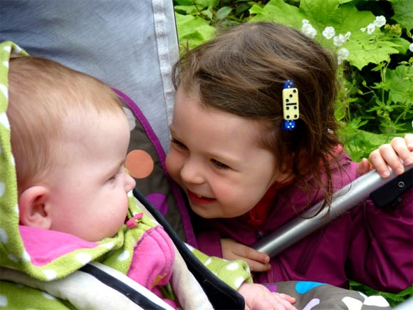 fun with a baby in the garden