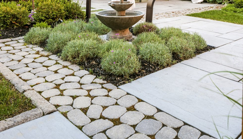 Cobbles and planting in paving