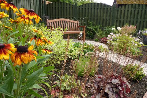 A bench seat hidden amongst the planting