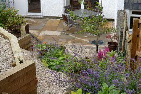 View down to the new sandstone patio