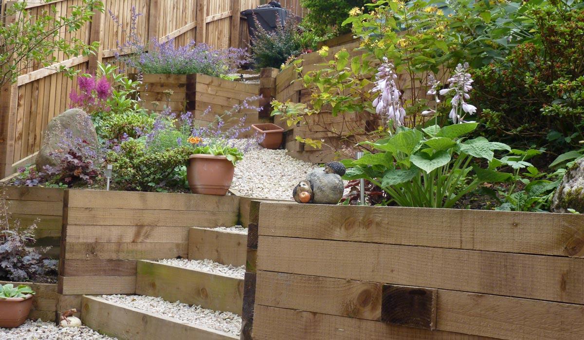 A contemporary terraced garden