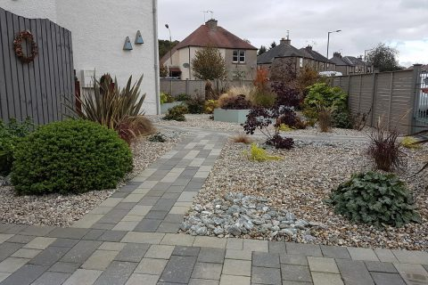 View from the new driveway across the garden
