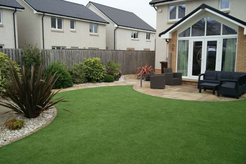 The artificial grass looks great two years on