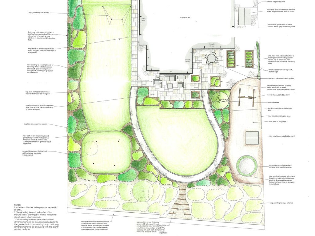 Garden design for a golf lovers garden