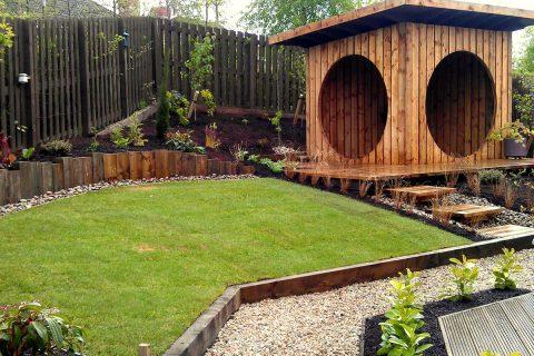 The new garden pod and lawn transform the garden