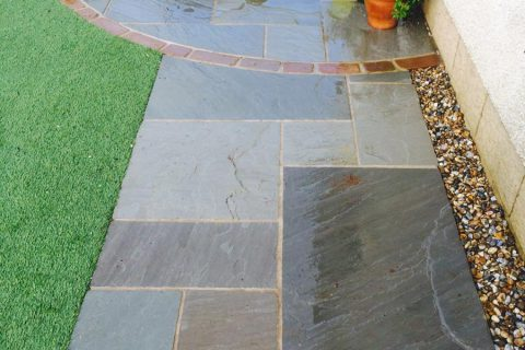 The new morning patio and sandstone path