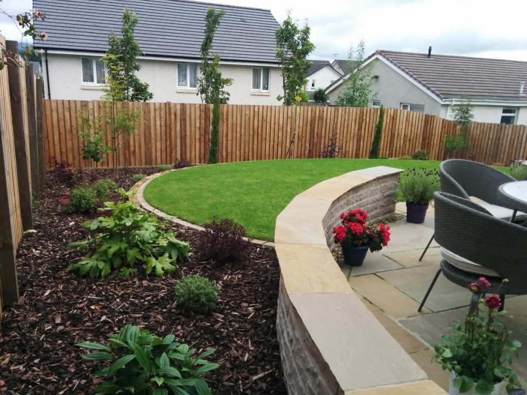 After: new patio, terracing and planting