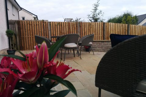 The new sandstone patio