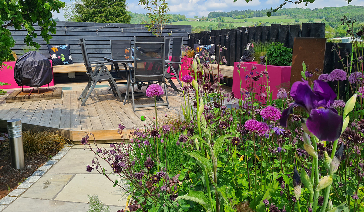 Our decking surrounded with wildlife friendly planting