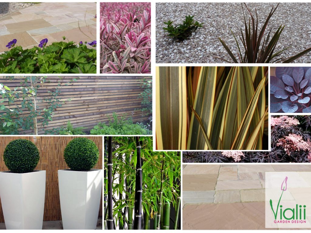 Our moodboard for a contemporary courtyard garden