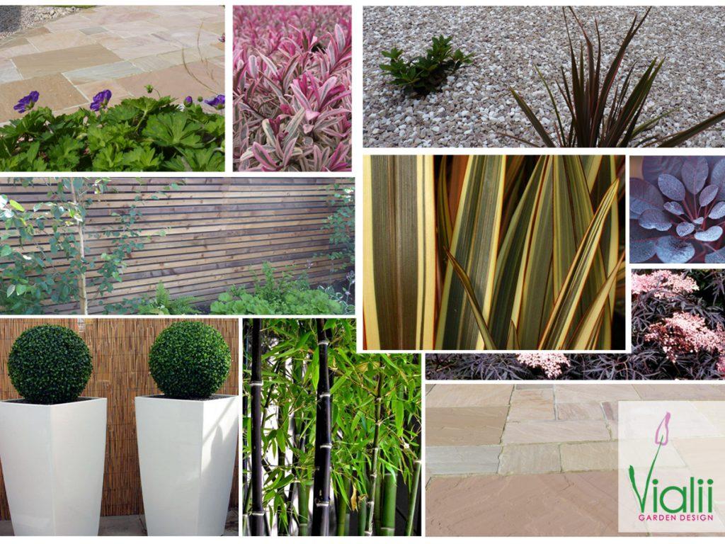 Our moodboard for a contemporary courtyard garden