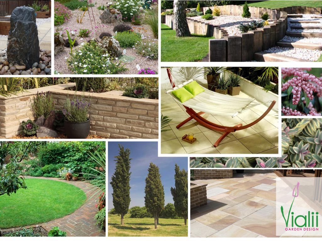 Our moodboard for a sloping family garden