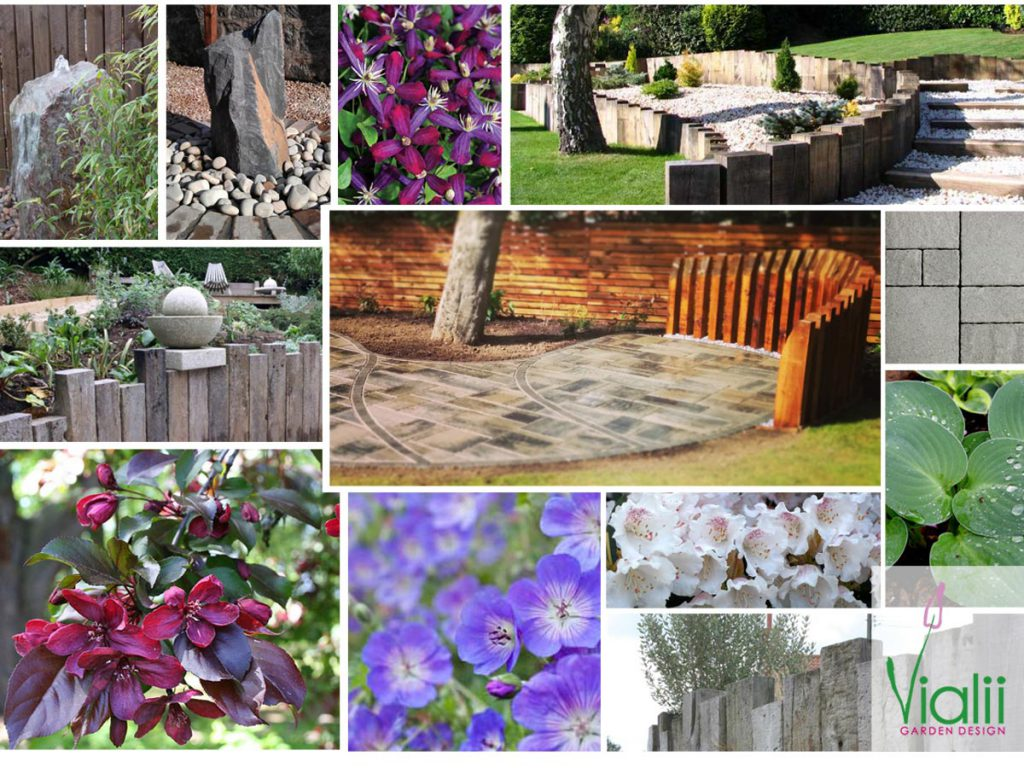 Our moodboard for a terraced garden