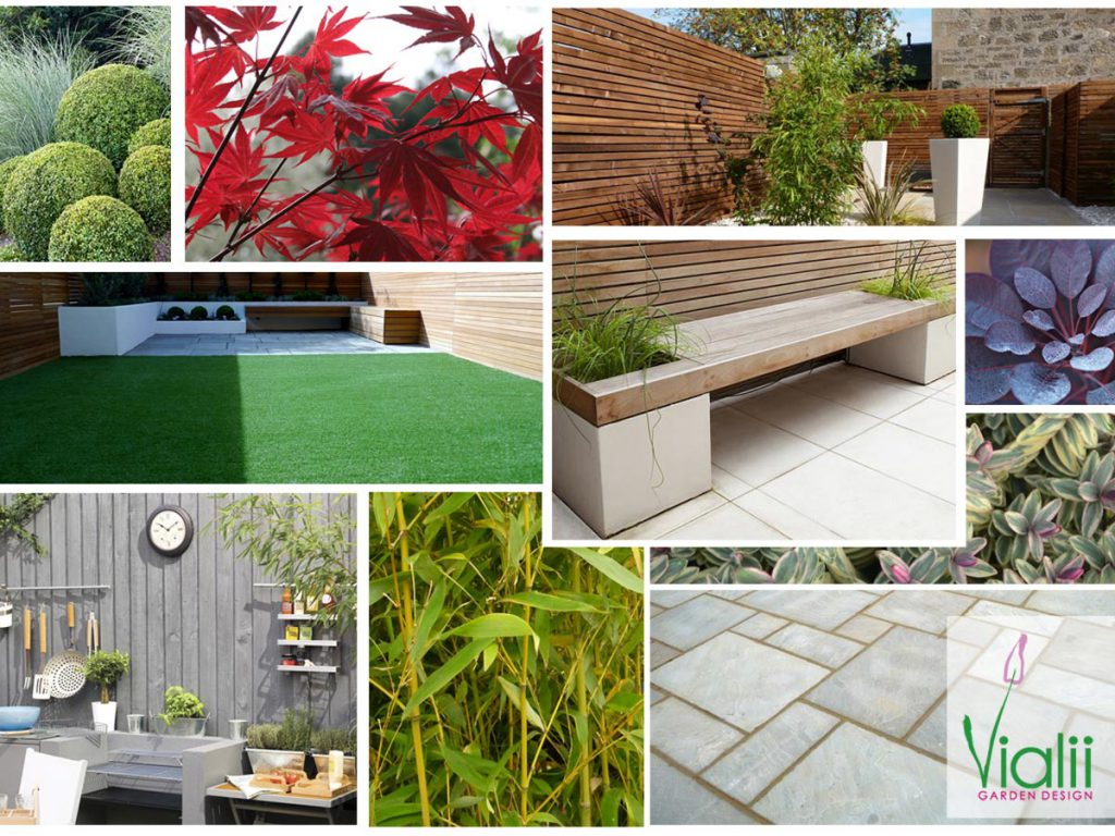 Our moodboard for a contemporary low maintenance garden
