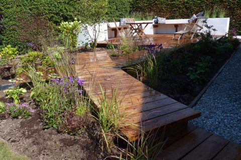 The new boardwalk leading to the deck