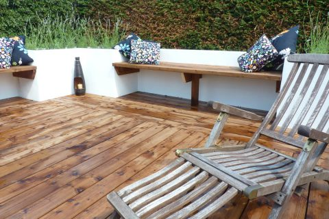 The new in-built seating on the deck