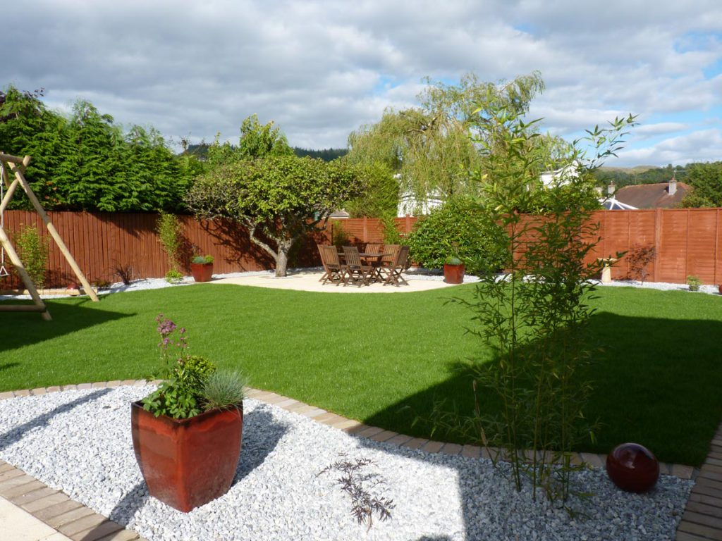 View across the lawn to the new patio area