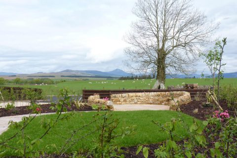 View across the lawn to the new seating area