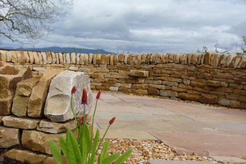 Beautiful stone was carefully selected for the dry stone walling