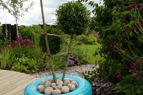 Upcycled tyres make a cool planter