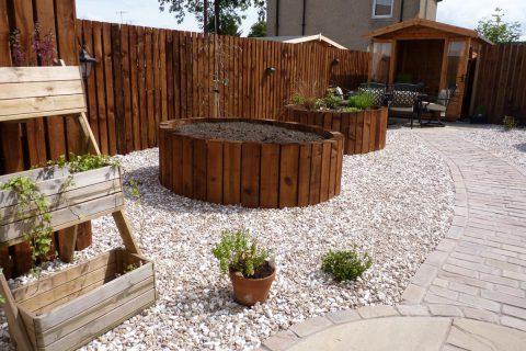 The raised beds are easy to maintain and look great
