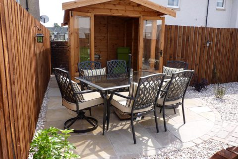 The main patio and summerhouse