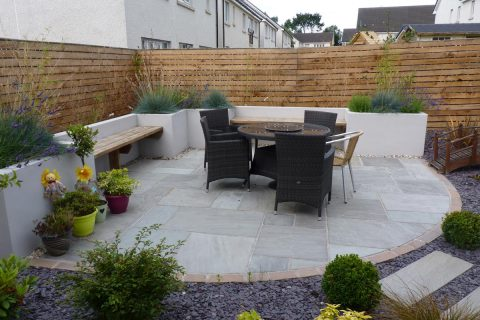 The new patio with in-built seating
