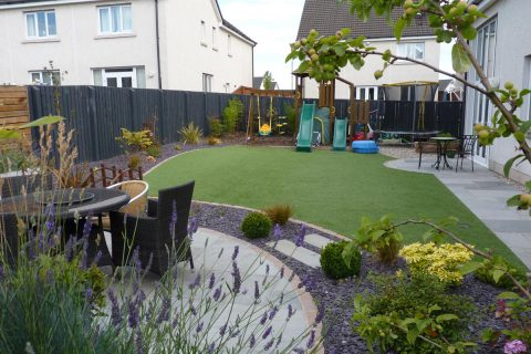 View across the lawn to the new play area