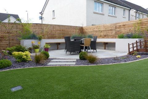 The artificial grass and new seating area